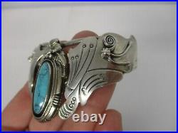 VINTAGE NATIVE AMERICAN NAVAJO STERLING CUFF BRACELET w TURQUOISE MOTH BUTTERFLY