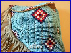 VINTAGE NATIVE AMERICAN SIOUX / CHEYANNE INDIAN BEADED LEATHER GUN HOLSTER c1900