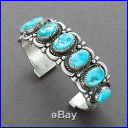 VINTAGE NAVAJO Row Bracelet 7 Gem Grade Bisbee Turquoise Stones Sterling Silver