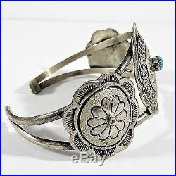 VINTAGE NAVAJO SIGNED TWY STERLING SILVER & TURQUOISE CONCHO CUFF BRACELET 21.3g