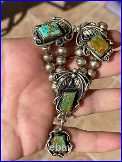 VINTAGE NAVAJO SQUASH BLOSSOM ROYSTON Turquoise Pendant Sterling BEAD Necklace