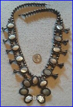 VINTAGE NAVAJO Squash Blossom Necklace Mother Of Pearl Seashell Sterling 24 BIG