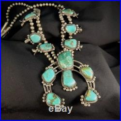 VINTAGE NAVAJO Sterling High Grade Royston Turquoise Squash Blossom Necklace