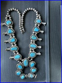 VINTAGE NAVAJO TURQUOISE STERLING SILVER SQUASH BLOSSOM NECKLACE WithRING C1960