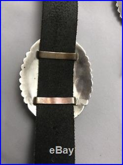 VINTAGE Native American Navajo Sterling Silver Concho Morris Begay Belt Buckle