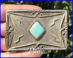 VINTAGE OLD PAWN NAVAJO STAMPED STERLING SILVER TURQUOISE BELT BUCKLE Signed