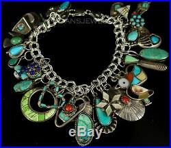 VINTAGE Old PAWN Navajo CORAL & TURQUOISE Mixed Charm Cluster Sterling Bracelet