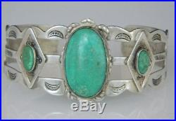 VINTAGE RARE Cerrillos NM Turquoise FRED Harvey NAVAJO Sterling Cuff 1920 Sz5.5