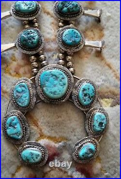 VINTAGE SIGNED SQUASH BLOSSOM NECKLACE NATURAL TURQUOISE STONES ALMOST 7oz