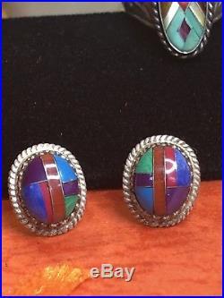 VINTAGE STERLING SILVER CAROLYN POLLACK RING gemstone NATIVE AMERICAN EARRINGS