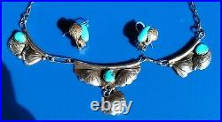 VINTAGE STERLING SILVER NATIVE AMERICAN TURQUOISE NECKLACE & Earrings SIGNED TF