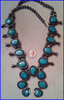 VINTAGE Squash Blossom Necklace CANDELARIA Turquoise Sterling BIG 174 grams 26