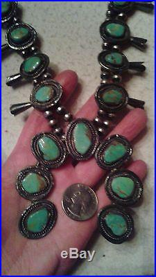 VINTAGE Squash Blossom Necklace KINGMAN Turquoise Sterling BIG 160 grams 24