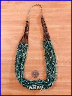 VTG 30 Native American Sterling Silver 10 Strand Turquoise Heishi Necklace 925