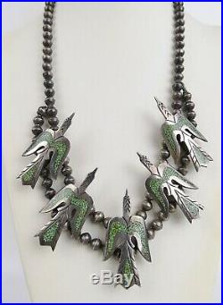 VTG 70s sterling silver turquoise Navajo peyote bird squash blossom necklaace