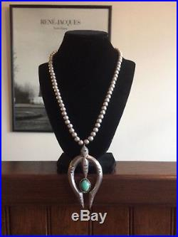 VTG 97 GRAMS Native Am Sterling Silver Turquoise Naja Necklace Navajo Pearls 925