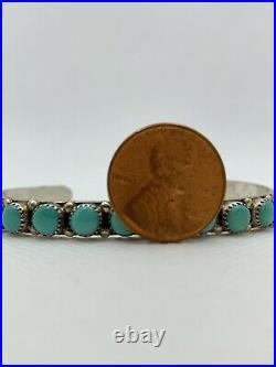 VTG AP Navajo NATIVE AMERICAN Sterling Silver Turquoise Cuff Bracelet 10.5g #bav