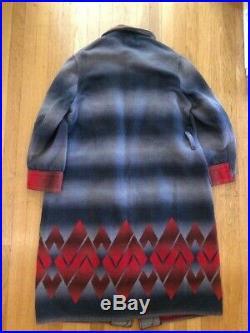VTG Beacon Blanket Art Deco Aztec Ombre Wrap Robe Coat Men's/Women's Blue Red L