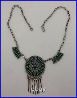 VTG By. C. S. Native American Zuni Sterling Silver Needle Point Turquoise Necklace
