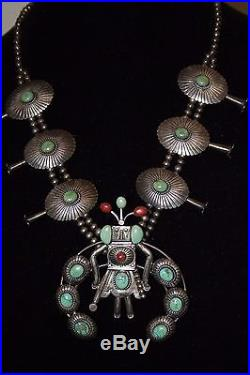 VTG Hopi Kachina Sterling Silver MUSEUM Turquoise Coral Squash Blossom Necklace