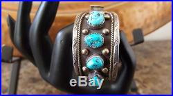 VTG Huge Old Pawn SW Native Navajo 8 Fine Turquoise Watch Cuff Bracelet Sterling