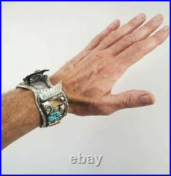 VTG Mens Navajo Sterling Silver Turquoise Coral Bear Claw Watch Cuff Bracelet