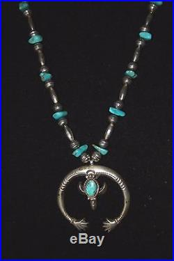 VTG NAVAJO Sterling Silver Friendship NAJA TUFA Melon Beads TURQUOISE NECKLACE