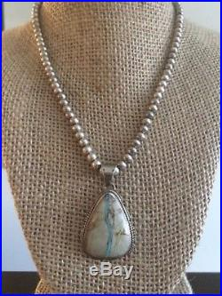 VTG Native Am Navajo Ribbon Turquoise Pendant Sterling Silver Bead Necklace 925