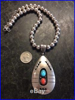 VTG Native American LARGE Turquoise Coral Pendant Sterling Silver Bead Necklace