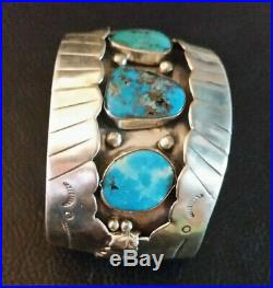 VTG Native American Sterling Silver Cuff Bracelet Turquoise Navajo Old Pawn 86g