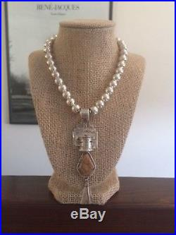 VTG Native American Sterling Silver Kachina Pendant Beaded Necklace G Sanchez