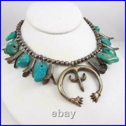 VTG Native American Sterling Silver Squash Blossom Turquoise Necklace 24 LFL4