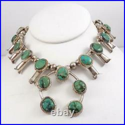 VTG Native American Sterling Silver Squash Blossom Turquoise Necklace LFL5