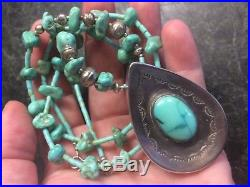 VTG Native American Turquoise Sterling Silver Necklace with Large Pendant RTS