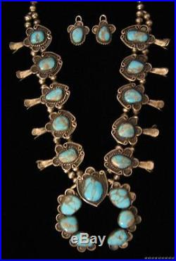 VTG Native Navajo Turquoise Sterling Silver Squash Blossom Necklace Earring Set