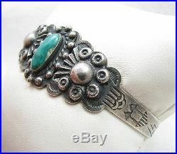 VTG Navajo Fred Harvey Era Turquoise Symbol Stamped IH Coin Silver Cuff Bracelet