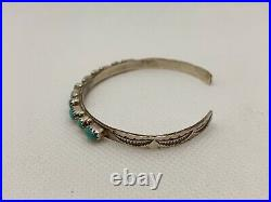 VTG Navajo NATIVE AMERICAN Sterling Silver Turquoise Cuff Bracelet 9.1g #yce