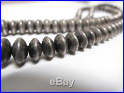 VTG Navajo Native American Pearls Bench Bead Sterling Silver Necklace 30 55g