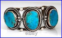 VTG Navajo Old Pawn Large Natural Kingman Turquoise. 925 Silver Handmade Cuff
