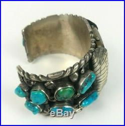 VTG Navajo Sterling Silver Turquoise Cluster Old Pawn Men's Watch Cuff Bracelet