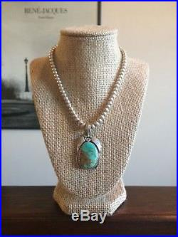 VTG Navajo Turquoise Pendant & Sterling Silver Bead Necklace 925 Justin Morris