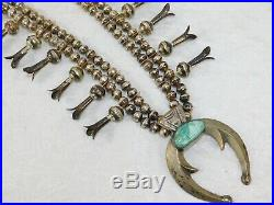 VTG PAWN Navajo Sterling Silver Turquoise Squash Blossom Bench Bead Necklace 26