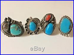 VTG Pawn Native American LARGE Old Ring Lot Turquoise Sterling Silver 4 rings