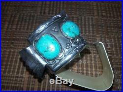 VTG Sterling Silver NAVAJO Huge Turquoise 7.5 Mens Watch Cuff Bracelet 107g