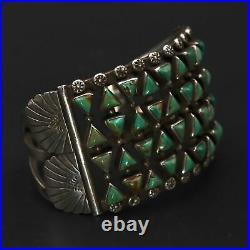VTG Sterling Silver NAVAJO Turquoise Cluster Stamped 7.5 Cuff Bracelet 104g