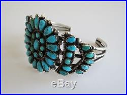 VTG sterling turquoise cluster cuff bracelet VTG zuni native American jewelry