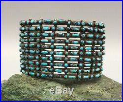Vintage 10 Row! Turquoise And Sterling Silver Cuff Bracelet Bisbee