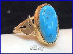 Vintage 14k Rose Gold Native American Turquoise Ring Sleeping Beauty Bear