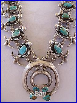 Vintage 1930s NAVAJO Cast Sterling Silver & Turquoise SQUASH BLOSSOM Necklace