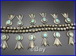Vintage 1930s NAVAJO Sand Cast STERLING SILVER Turquoise SQUASH BLOSSOM Necklace